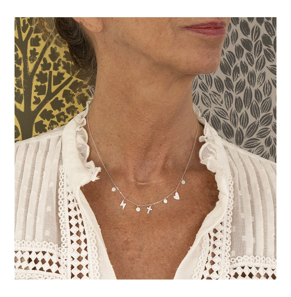 COLLIER-NECKLACE - ACIER Or blanc - zirconium sertis