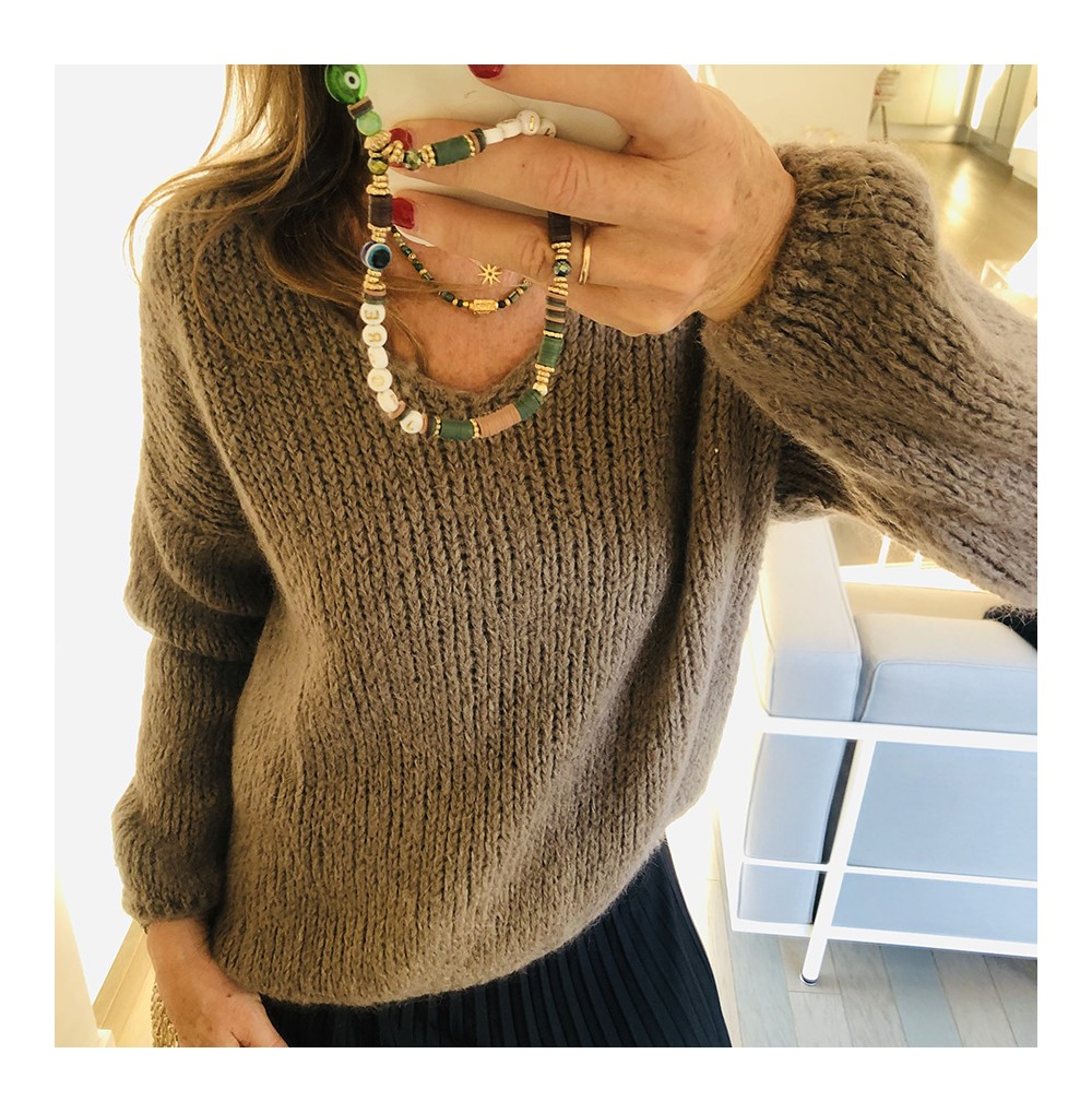 PULL COL V TAUPE