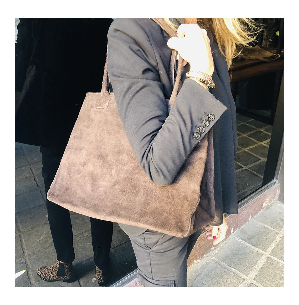 SAC CUIR NUBUCK MARRON