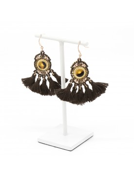 BOUCLES POMPOMS MARRON
