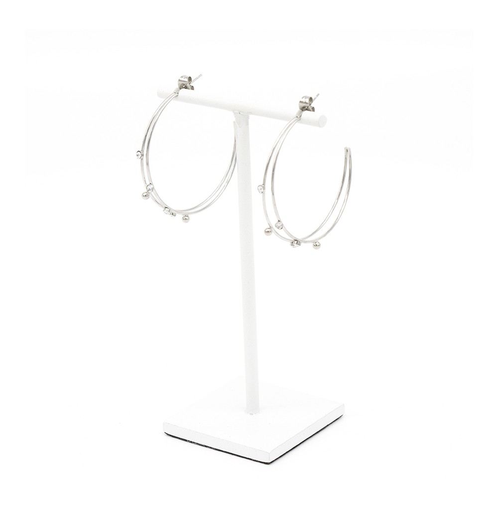 BOUCLES D OREILLES-EARRING - ACIER BLANC - STEEL WHITE