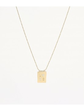 Collier ZAG doré plaque love
