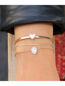 Bracelet ZAG doré et nacre