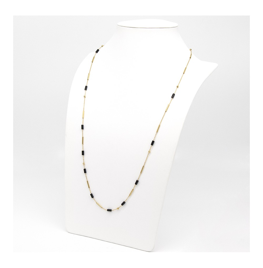 COLLIER-NECKLACE - DORE noir - gold black - onyx noir