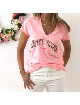 TEE-SHIRT DON'T TOUCH CORAIL