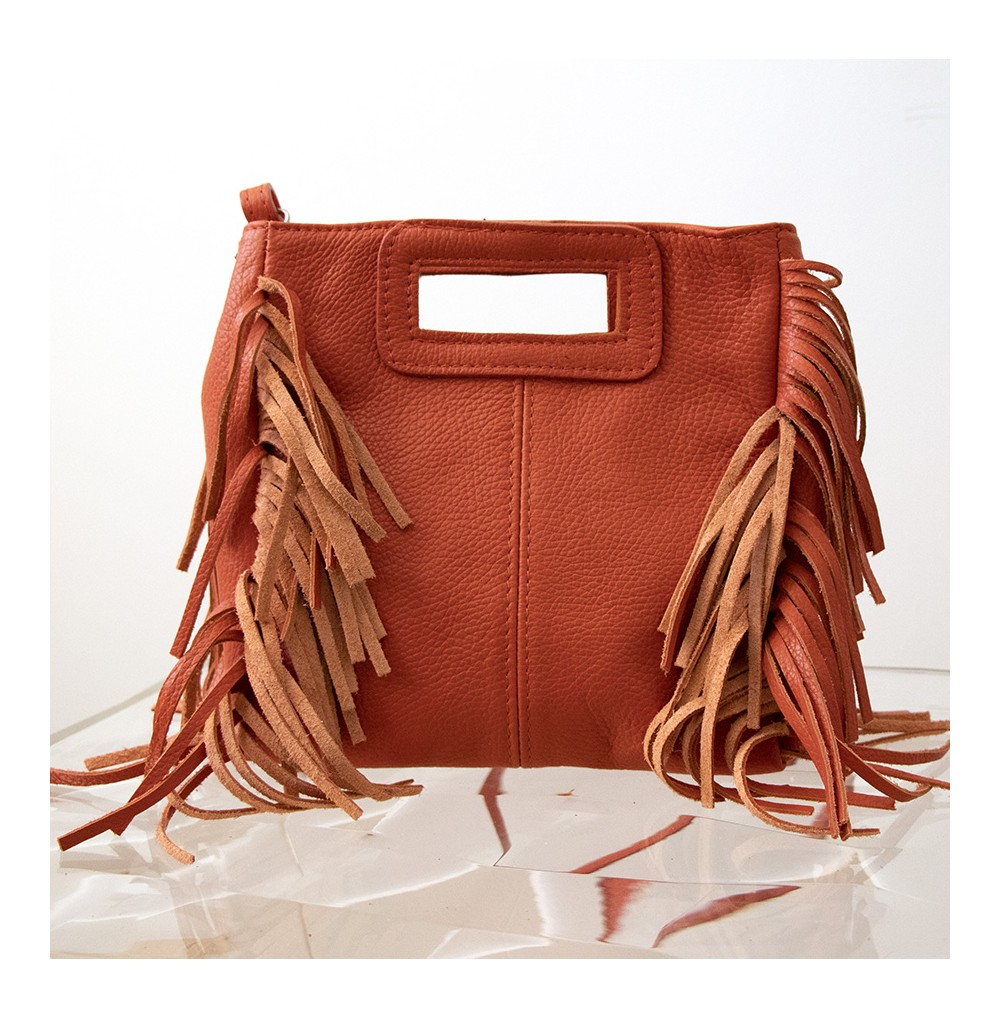 SAC CUIR FRANGE ORANGE